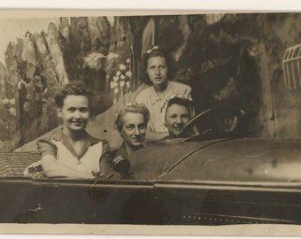 Four Women in Open Car Prop Arcade Photo 1941, RPPC (511428)