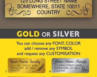 Return address labels Personalized return address label stickers Gold address labels Silver address stickers Calligraphy Wedding sticker