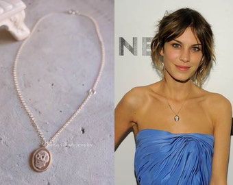 Alexa Chung skull necklace - Sterling silver necklace with shell cameo-authentic cameo from Torre del Greco with skull