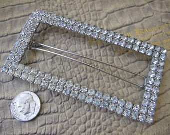 """Wedding PROM """"Met Gala"""" Soiree Dance Party, Special Event: Big or Larger Silver Tone RHINESTONE Hair Barrette Accessory. Jewelry 4 the Hair"""