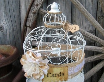 Personalized Wedding Birdcage - Card Holder - Card Box - Summer Wedding ~Decorative Cage, Birthday, Anniversary, Baby Shower, Bridal Shower