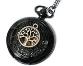 Tree of Life Black Pocket Watch - Silver Tree Pendant with Jet Black Pocketwatch Necklace