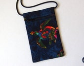 SEA TURTLE Pouch Zip Bag Blue Fabric. Great for walkers markets travel.  Cell Phone Pouch.  Small blue fabric Purse. cross body bag