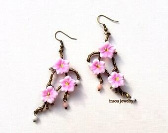 Pink Earrings, Sakura, Cherry Blossom, Flower Earrings, Dangle Earrings, Handmade Earrings, Floral Jewelry, Gift For Her, MADE TO ORDER