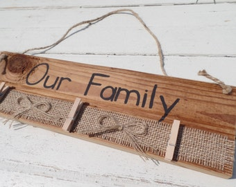 clothespin picture frame, family picture frame, clothespin photo holder, rustic clothespin picture frame, reclaimed wood frame, wood frame