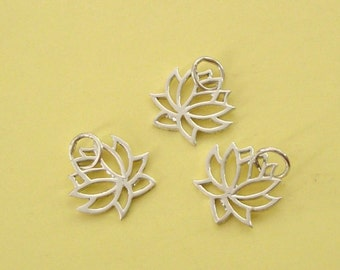 5 Pieces, Lotus Charm, Sterling Silver .925, with Open Ring, 14.8x13.3mm, SCHP234