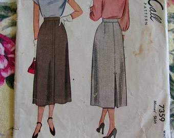 Pencil Skirt Kick Pleat Waist 30 MCCALL 7359 original vintage 1940s sewing pattern complete