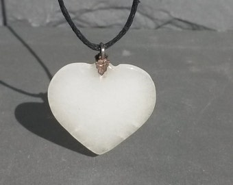 RARE White Jadeite Puff HEART Blackened 925 Sterling Silver Pendant Necklace metaphysical Translucent Handmade Mineral Jewelry Healing gift