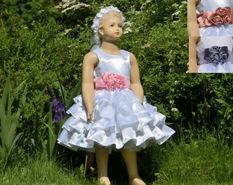 White flower girl dress with sash, white satin flower girl dress. Flower girl ruffle dress Flower girl with pink dusty rose or lavender sash