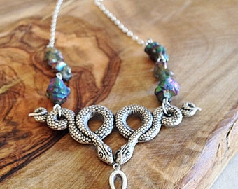 Esoteric Serpent Titanium Quartz Necklace Sorceress Jewelry