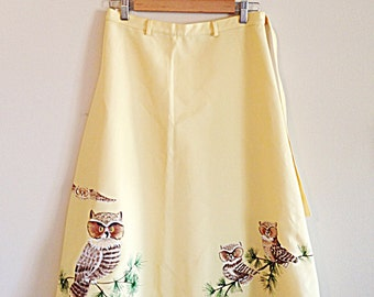 Vintage 1970s Hand Painted Owl Wrap Skirt
