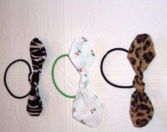 Ponytail Elastic, Retro Hair Elastic, Retro Hair Bow, Ponytail Bow, Pin up Elastic, Knot style Hair Bow, Cherry Hair Bow, Leopard Pony Tie