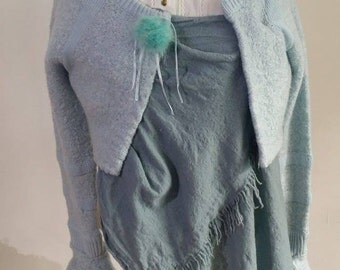 Upcycled Blue Cardigan with pompon