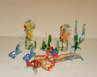 Vintage Glass Sea Collection Fish Sea Grass Dolphin