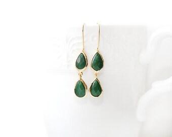 Green Jade Stone Hook Gold Plated Earrings