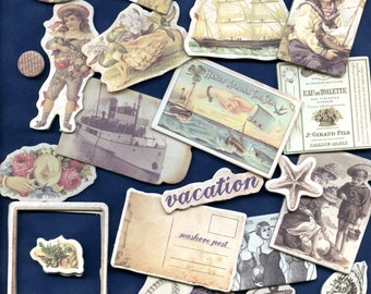 CHIPBOARD DIE CUTS, Prima French Riviera, Seaside Die Cuts, Victorian Seaside, Coastal Die Cuts, Maritime Die Cuts, Sea Die Cuts