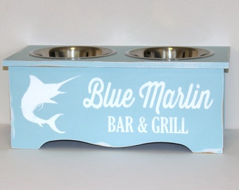 elevated pet feeder, elevated dog bowl, pet bowl, coastal decor