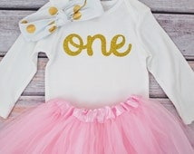 First birthday outfit girl, Pink and gold first birthday outfit, 1st birthday girl outfit, Baby girl first birthday outfit