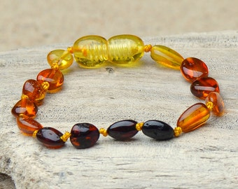 Amber Teething Bracelet - Sale !!! - Authentic Baltic Amber for your Baby - With Amber Certification