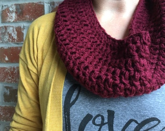 Maroon Knit Cowl Scarf- Crochet Cowl - Maroon Infinity Scarf  - Chunky Knit Cowl - Burgundy Cowl - Maroon Knit Scarf Red Cowl Blanket Scarf