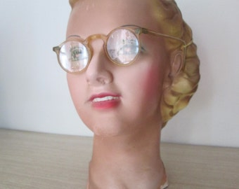 Fantastic Vintage 1930s 30s 1940s 40s Clear Celluloid Plastic Sunglasses -Art deco-Swing-Zazou-WWII-Homefront