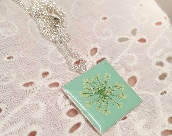 Resin jewelry, Light blue necklace, pressed flower necklace, nature necklace, gift idea, nature inspired, square pendant, dried flower, cute