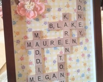 Scrabble Name Frame, Scrabble Tile Art, Name Collage, 5th Anniversary Gift, Wood Anniversary, Wedding Gift, Mother's Day, Grandmother gift