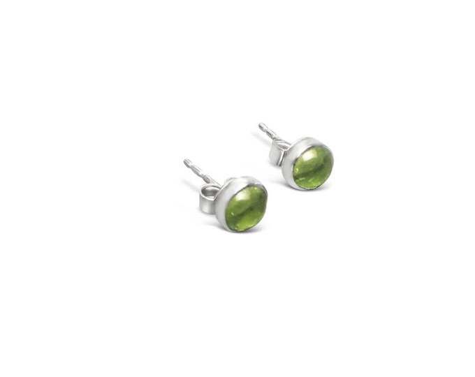 5mm Peridot and Sterling Silver Stud Earrings