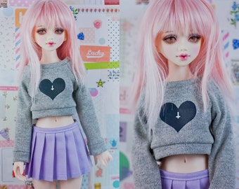 Slim MSD Minifee or SD BJD Crop Sweater - Black Heart inverted cross