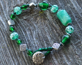 Emerald Green Irish Celtic Vibe St. Patrick's Day Vintage Lampwork Knotted Sophisticated Boho Stacking Bracelet