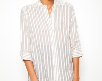 REDUCED was 160 now 125 beautiful vintage MAX MARA silk cotton pinstripe sheer collarless grandpa tunic shirt Made in Italy