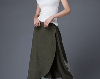 Green Linen Pants - Casual Comfortable Harem Style Modern Contemporary Womens Designer Pants C855
