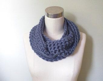 Blue Infinity Scarf / Crochet Scarf / Cerulean Blue / Denim Blue / Loop Scarf / Long Scarf / Blue One Wrap / Designer Scarf / Women Scarves