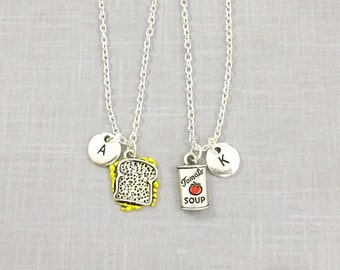 Best Friend Necklace, Grilled Cheese Tomato Soup, Personalize Initial, Couple Jewelry, Necklace Set, Sandwich, Friendship