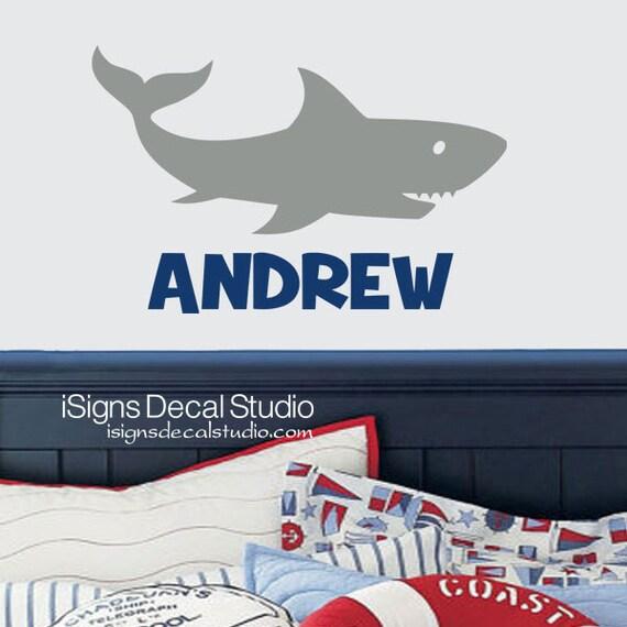 shark wall decal shark decal boys room decal custom. Black Bedroom Furniture Sets. Home Design Ideas