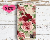Spring transparent Iphone 6s Plus case with design, Clear floral Iphone 6 case, Pink red, Monogrammed gift for mother (1611)