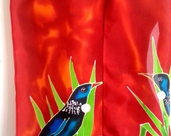 New Zealand Tui BIRD Silk Scarf Hand Painted, Flax bush, Brick Red, Burnt Orange, black, blue, lime, gold, GIFT CARD Included, Handmade gift