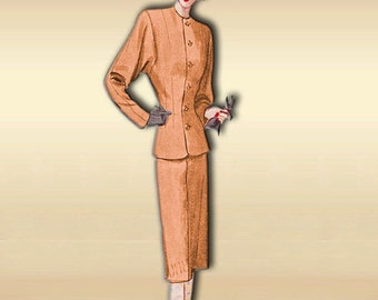 McCall 6344 Vintage 1940s Suit Pattern Swing Era with Classic Styling Tailored Jacket Pencil Skirt Size 14 Bust 32 Uncut Factory Folded