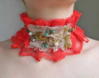 Red lace choker Fashion collar Ruffle collar necklace Fabric choker Neck corset Lace collar with amazonite Neck Ruff Textile necklace