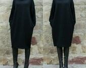 Black Wool Maxi dress, Jumper dress,Turtleneck dress, Plus size dress, Oversized dress, Wool dress, Fall Winter dress, Day dress, Midi dress