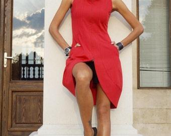 New 2016 Autumn Sexy Dress / Red Polyviscose Dress /Double zipper / Side Pockets /Sleeveless Dress / Extravagant Party Dress A03492