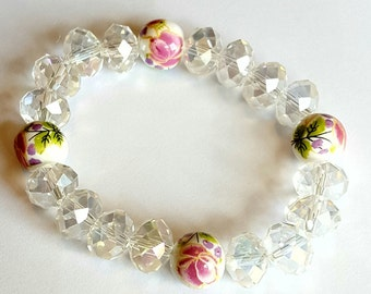 Swarovski Crystal Beaded Bracelet with Ceramic Beads