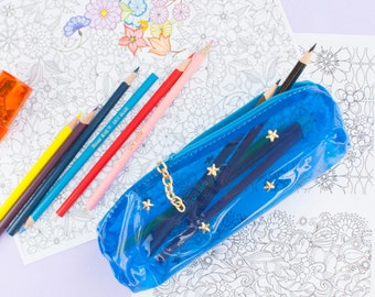 Small Gifts Clear Pencil Case with Gold Studs and Chain Pull Blue or Pink Vinyl Zipper Pouch
