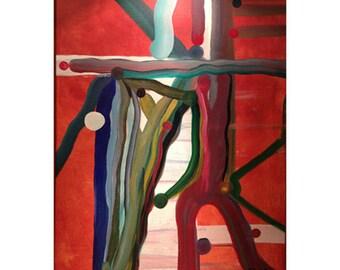 GYMNASIUM - original abstract acrylic painting on canvas