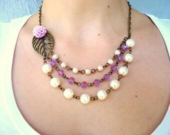 Pearl Bib necklace, leaf necklace, bridal necklace, crystal necklace, wedding necklace, bridesmaid gift, lavender necklace, dahlia necklace