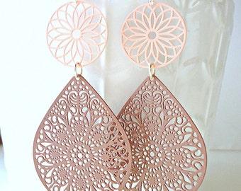Pastel earrings, Coffee brown earrings, teardrop earrings, pink earrings, long earrings, summer trends 2016,  lace earrings, peach earrings