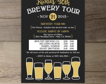 Brewery Tour Invitations with Itinerary • Birthday Invites • Beer • DIY Printable