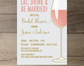 Wine Party Invitation Bachelorette Party Invites Bridal