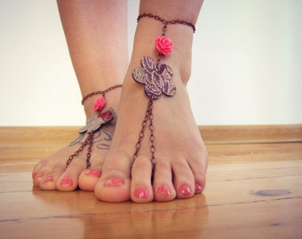 Neon rose BAREFOOT sandles, beaded barefoot sandals, belly dancing, beach BOHO chain foot jewelry, foot thongs, bottomless shoes