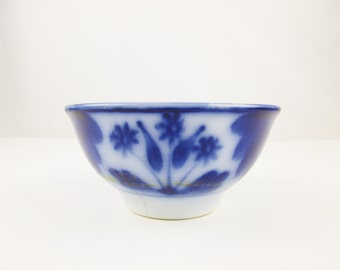 A Vintage Shabby Flow Blue Bowl - Antique Dark Flow Blue - Three Flowers and Leaves - Semi-Porcelain - Serious Age